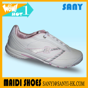 Newest Elegant White PU Sport Running Shoe for Women with Durable Outsole with High Quality Lower Price