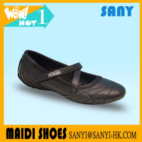 Hottest Ladies Cool Buckle Strap Black PU Dance Shoes with Soft Sole with OEM&ODM Available