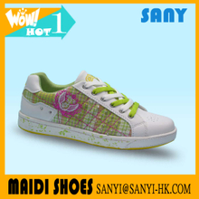 Top Selling Fashionable Woman's Green Skate Shoes with Smart Crystal and Stylish Canvas Upper