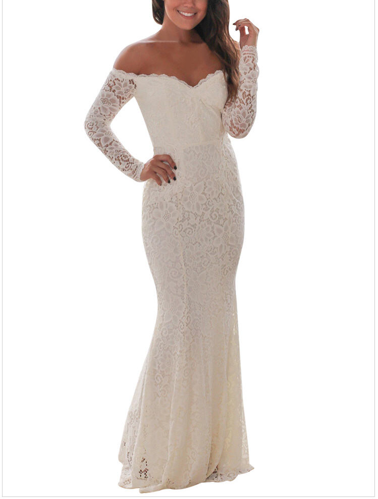 new Floral Lace Evening Gown Party Dress