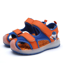 Kid Sandals boy's Summer USB Charging Led kid's Sandals mesh Pure Color PU Kid Light Up Beach Sandal Children