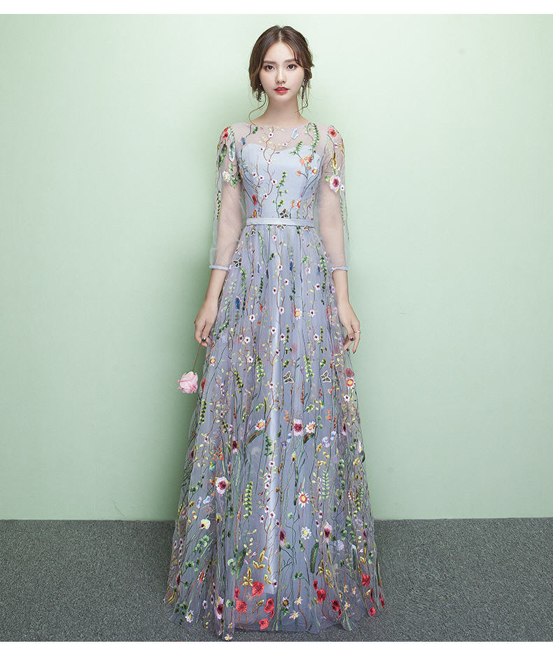 New Female Summer Party dress Embroidery Floral Bohemian Flower Embroidered Vintage Boho Mesh Dresses Vestido