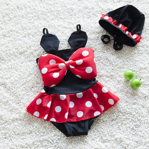 summer Bikini Girls Swimwear Children's Mouse Bow Baby Girl Swimsuit Bathing Swimming One-Piece Suits Suit Children Dot Swimwear