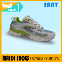 Hot Selling Stylish White/Green/Blue Lace Running Shoes with Breathable Upper for Woman