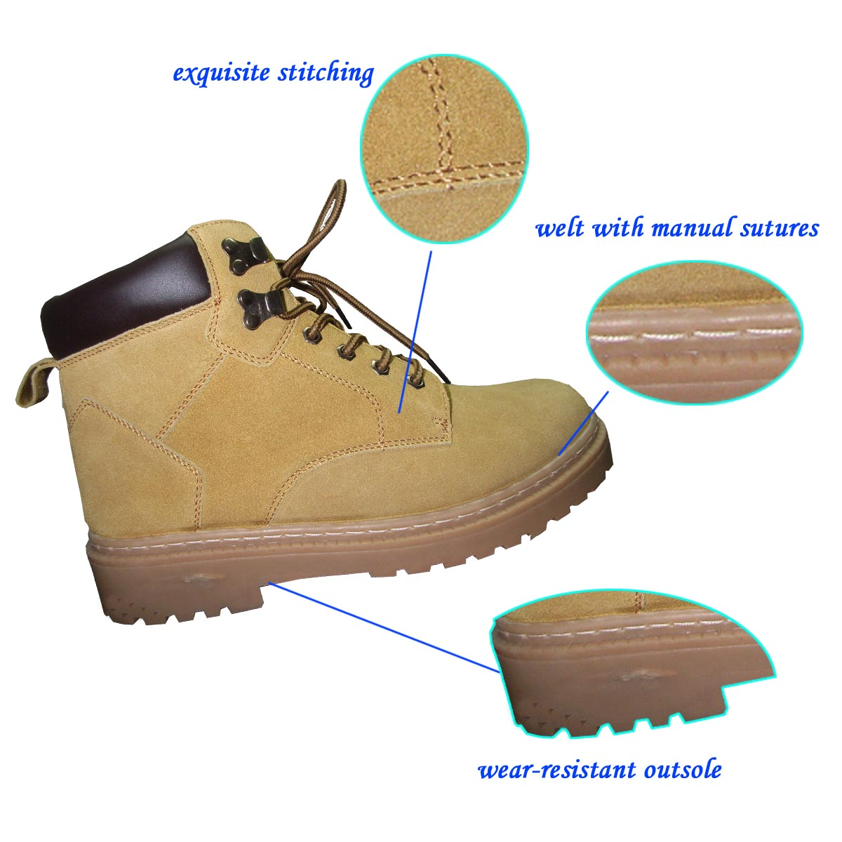 High Top New Designed Lace-up Suede Anti-skid TPR Outsole Work Shoes For Men