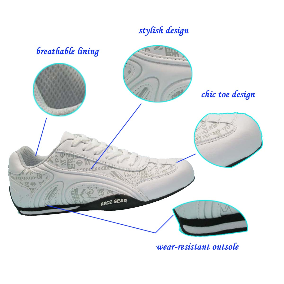 New Product Comfortable Stylish White man Casual Shoe with Durable EVA Rubber Outsole Accepted OEM ODM