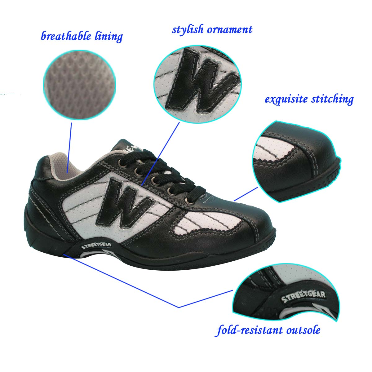 Latest Design Cheap Casual Sneakers Fashion PU+TPR Sport Shoes Men Wholesale Black Footwear