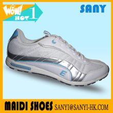 Newest Lady/Woman White Mesh&PU good quality woman shoes with flat comfortable feature woman casual sport