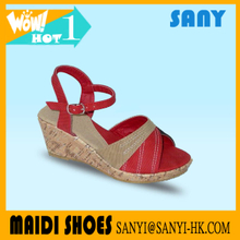 Latest Designed Bright Color Beautiful Sexy Wedge Sandals for Woman