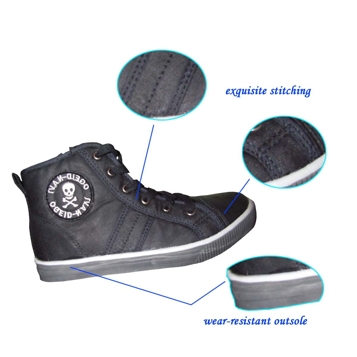 Chinese Stylish Comfortable High-cut/Mid Top Black Casual Shoes for Man Directed from Factory