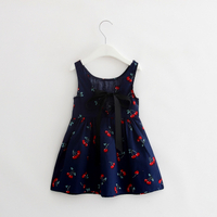 Summer Fashion Girl Cute Cherry Pattern Print Sleeveless Bowknot Leak-Back Bow Tie Pleated Dress For Kids Girls Dresses 2018 new
