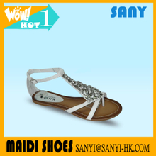 Latest Ladies Fashion Sexy White Jeweled Flat Sandals Women 2017