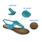 Jinjiang Fujian Stylish Blue PU Flat Sandals of Nations Style for Woman