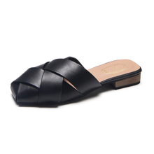 New Summer Leather Slippers Square Toe Closed Toe Flat Heel Shoes 2018 Women Slip On Casual Daily Flats Female Sandals Shoes wholesale and online