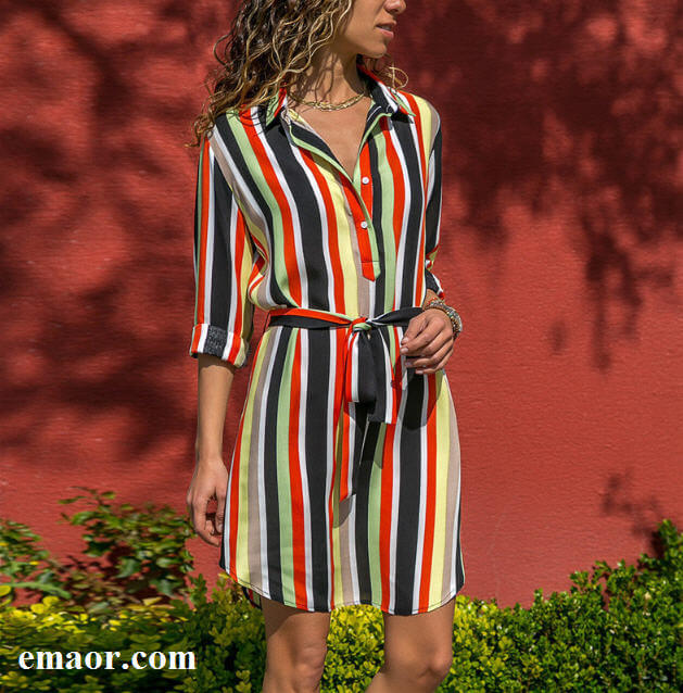689fa3f3e62 Long Sleeve Shirt Dress 2019 Summer New Sexy Chiffon Boho Beach Dresses  Comfortable Women Casual Striped