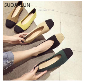 Flat Pedal Mtb Shoes SUOJIALUN Women's Slip On Flat Loafers Round Toe Shallow Ballet Flats Shoes Stretch Fabric Female Casual Flat Shoes Flat Pedal Mtb Shoes