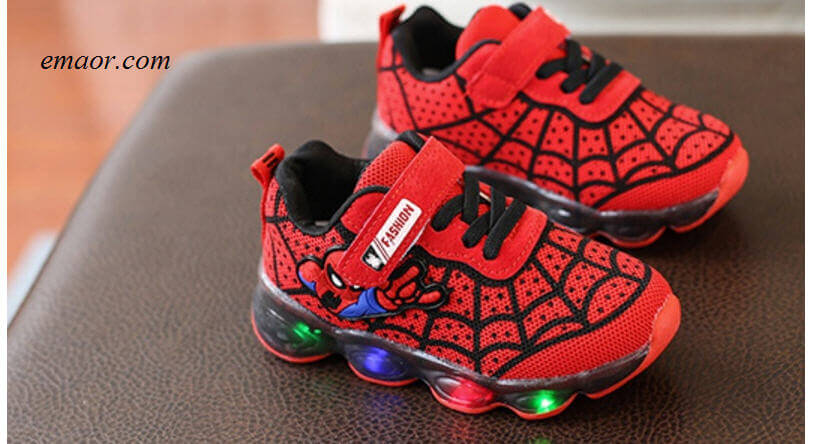 Spideman LED Season Boots Children Shoes Baby Kids Sandals Luminous Childr Sneaker Cartoon with Light Up Footwear LED Shoes