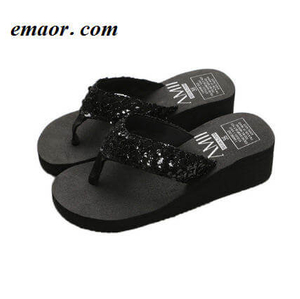 Women Flip Flops Sequins Wedge Summer Beach Comfortable Indoor Outdoor Ladies Sandals