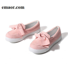 Women Loafers Fashion Platform Slip On Bowtie Sewing Black Pink Casual Comfortable Flock Moccasins Footwear