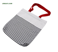 Cotton Stripe Canvas Shopping Tote Shoulder Carrying Bags Eco Reusable Bags