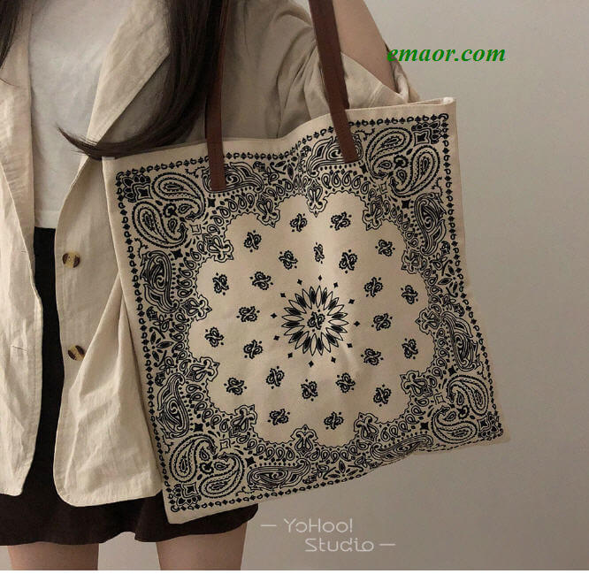 Printing Design National Wind Shoulder Canvas Bag Shopping Bag Female No Zipper Bags