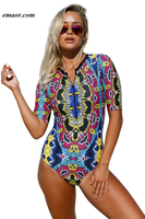 Swimwear Best Swimwear Neon Swimsuit Red Blue Leaves Zip Front Half Sleeve One Piece Swimsuit Thanos One Piece Swimsuit