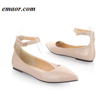 Women Flats Fashion Spring Autumn Simple Women Pointed Toe Buckle Casual Patent Leather Ballet Flats