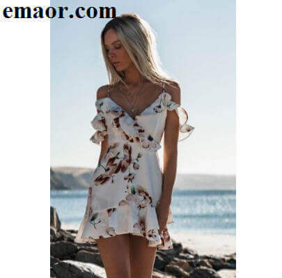 f608e8aaae1 Dresses Sleeveless V-Neck White Beach Tank Mini Casual Women Party Sundress  Floral Ruffle Chiffon