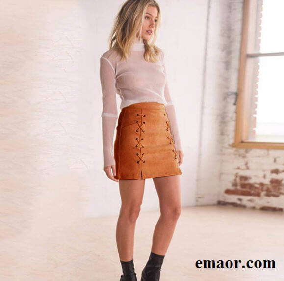 Women Skirt Leather Suede Pencil Black Mini Skirt 2019 Summer Fashion High Waist Short Bodycon Lace Up Skirts Sexy Split Skirts