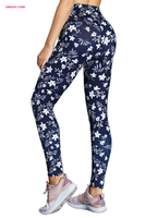Hot Yoga White Floral High Waist Yoga Leggings