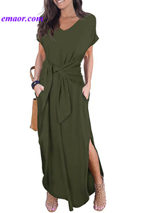 Black Casual Loose Pocket Short Sleeve Split Maxi Dress Ariana Grande Dress Smart Casual Dress Code