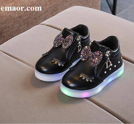 Children Glowing Shoes New Fashion Princess Bow Girls Led Shoes Lovely Spring Autumn Cute Japan Girl Baby Sneakers Shoes