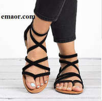 Women Sandals Fashion Summer Gladiator Black Pink Flat Rome Style Cross Tied Sandals Shoes