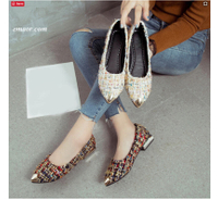 Roxy Shoes Women's Flats Slip on Flat Gold Pointed Toe Casual Shoes Plaid Boat Shoes Metal Heels Female Shoes Shallow Ladies Spring Footwears Roxy Shoes