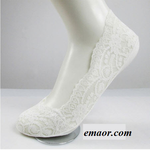 Women Lace Boat Socks Summer Silica Gel Invisible Cotton Loafers High Heels Sole Non-slip Socks for Girls