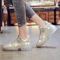 Best Women's Rhinestone Shoes Jogging Ladies Thick Sneakers Running Shoes Stylish Crystal Sneakers