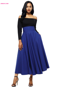 Retro High Waist Pleated Belted Hot Maxi Skirt on Sale