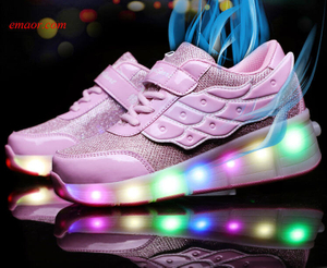 Led Shoes Children Luminous Glowing Sneakers Gold Pink Led Light Roller Skate Kids Led Shoes USB Charging Led Shoes