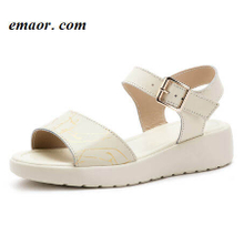 Womens Wedge Sandals Summer White Fahion Genuine Leather Casual Print Flat Platform Ladies Sandalias