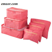 Nylon Packing Cube Travel Bags Durable 6 Pieces Set Unisex Large Capacity Of Receive Bags