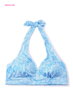 Hot Yoga Halter Neck Blue Printed Yoga Bralette on Sale