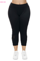 Best Crisscross Mesh Cutout Plus Size Fun Yoga Pants on Sale