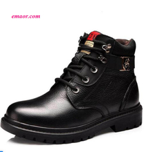 Fur Warm Men's Casual Boots Cotton Shoes Leather Winter Flannel Martin Boots