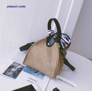 Brand Female Bags Ladies Trend Straw Shoulder Bags Triangle Lantern Beach Bags