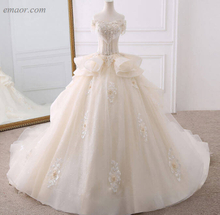 Wedding Dresses Appliques Flowers Beading Crystal Shiny Bridal Dress Wedding Dress