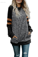 Affordable Long Chiffon Outerwear Fashion Casual Splice Loose Sweatshirt Outerwear Coats Jackets