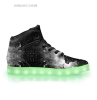 Wide Led Up Shoes Et Black Out-App Controlled High Top LED Shoes Light Up Runners