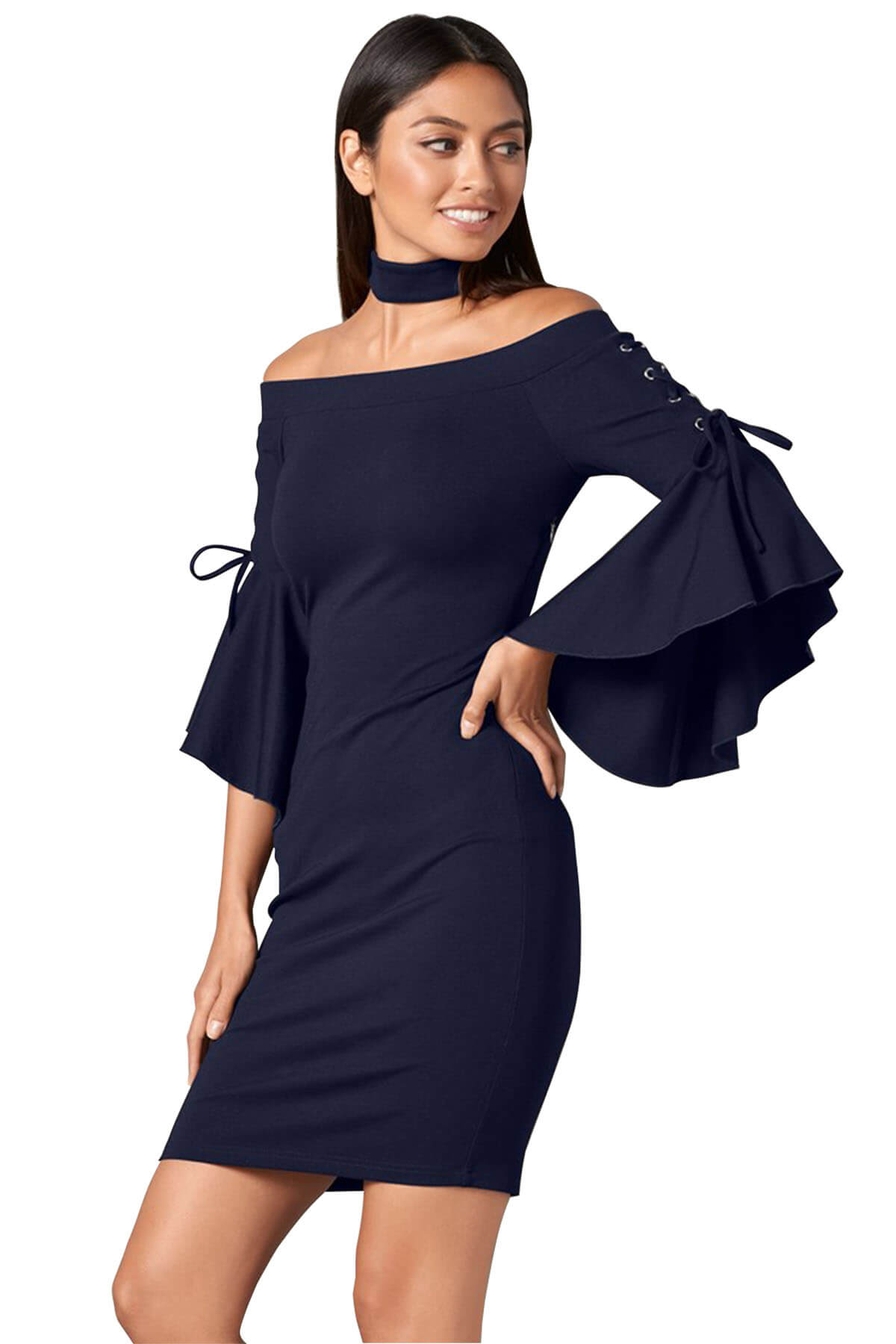 Dress Hot Grommet Lacing Sleeved Navy Choker Dress on Sale Dress