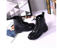 Ladies Soft Leather Ankle Boots Women's Fashion Solid Leather Middle Lace-Up Thick Martin Boots Woman's Boots on Sale Woman's Walking Boots