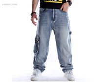 Cheap Jeans for Men Baggy, Plus-size Jeans Men's Hip Hop Plus-size Hip Hop Skateboard Pants Distressed Jeans Sale